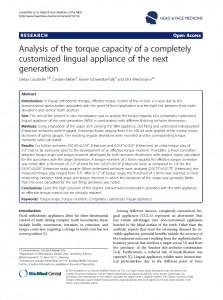 Interesante artículo sobre el Control de Torque con  aparato de Ortodoncia Lingual Win.